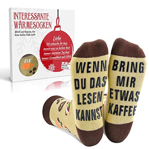 EYNOCA Lustige Socken Geschenke für Männer Frauen - Weihnachtssocken, Geburtstagsgeschenk, Witzige Nikolaus Geschenke für Adventskalender Füllung | Wenn Du Das Lesen Kannst Bring Mir Etwas Kaffee
