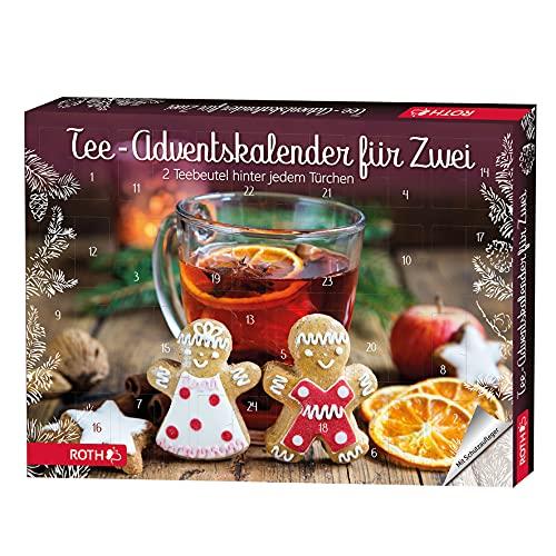 ROTH Tee Adventskalender für Zwei in BIO Qualität - 2x 24 beste Teesorten im Advent 2021 - nicht nur für Paare - als Geschenk mit Weihnachtstee - Biotee