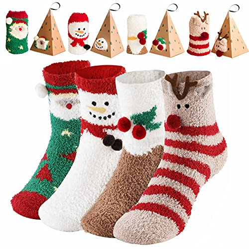SalLady Weihnachts Socken Kuschelsocken Damen 35-38 Weihnachtssocken Baumwolle Mit Witzig Weihnachtsmotiv 4 Paare Warme Wintersocken Christmas Socks Tolles Geschenke Für Frauen Weihnachten Lustig