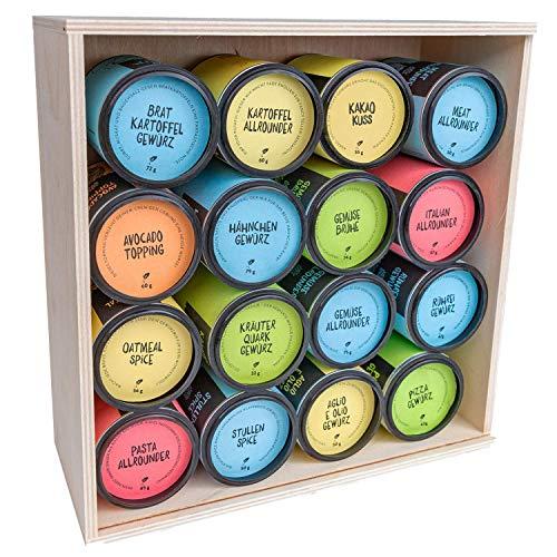 Just Spices Großes Top 16 Gewürze Set I Geschenkset in schöner Holzbox I Unsere 16 Favoriten in einer Box I Gewürzset Geschenkidee für Männer und Frauen