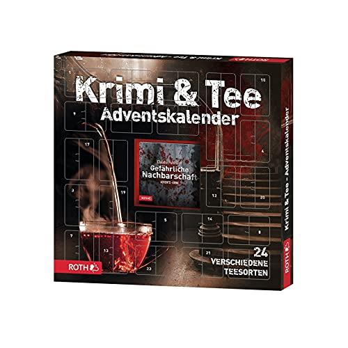 ROTH Krimi & Tee Adventskalender 2021 gefüllt mit hochwertigen Teesorten und einem Krimi-Buch, Krimi + Teebeutel-Kalender für den Advent