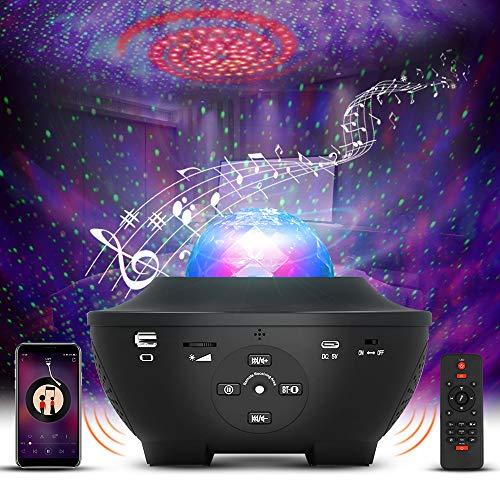 LED Sternenhimmel Projektor, Vivibel LED Sternenlicht Projektor mit Fernbedienung/Bluetooth/Timer Kinder Nachtlicht Ozeanwellenprojektor Musikspieler für Party Weihnachten Ostern Halloween