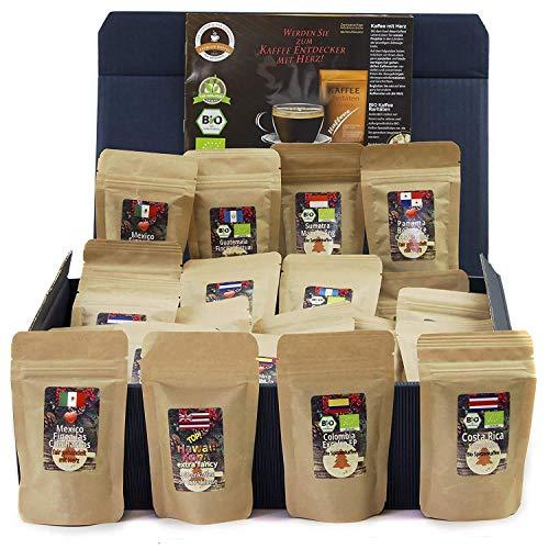 C&T Kaffee-Geschenkset Bio/Fair 24 Päckchen á 25 g (Ganze Bohnen) mit 24 Biologischen, Raritäten- und Fair gehandelten Kaffees plus Überraschung | Weihnachts-geschenk | Geschenkbox