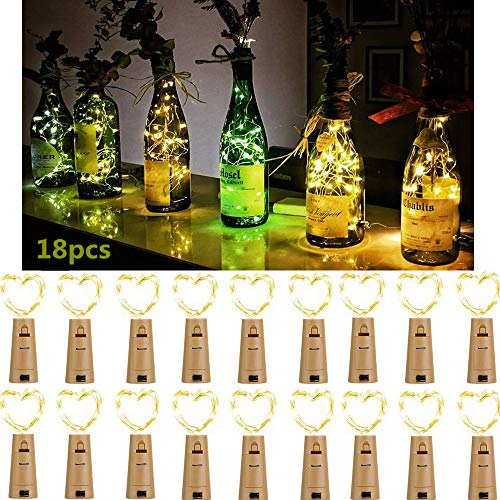 Flaschenlicht LED Lichterketten für Flaschen 18 Stück, 2M 20 Leds FlaschenLichter Schnurlicht Kupferdraht DIY Deko für Party, Weihnachten, Halloween, Hochzeit, außen/innen Beleuchtung (Warmweiß)