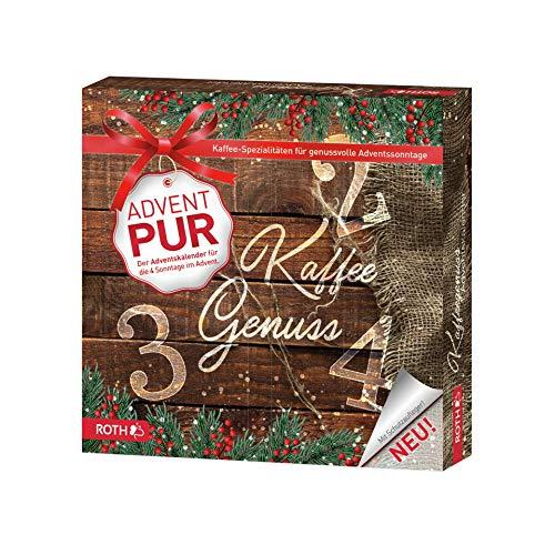 ROTH Adventskalender PUR 'Kaffeegenuss' mit 4 Türchen, für jeden Adventssonntag eines, enthält ausgewählte Kaffeesorten - 27x27x5cm