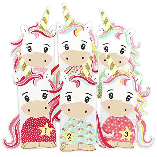 Papierdrachen Einhorn Adventskalender zum Befüllen - zum selber basteln - mit 24 Tüten zum individuellen Gestalten und zum selber Füllen - Weihnachten für Mädchen und Jungen