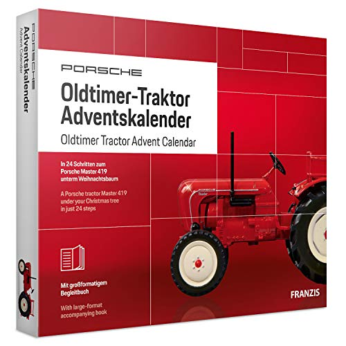 FRANZIS Porsche Oldtimer-Traktor Adventskalender 2019 | in 24 Schritten zum Porsche Master 419 unterm Weihnachtsbaum | Für Sammler und Modellbau-Liebhaber | Ab 14 Jahren