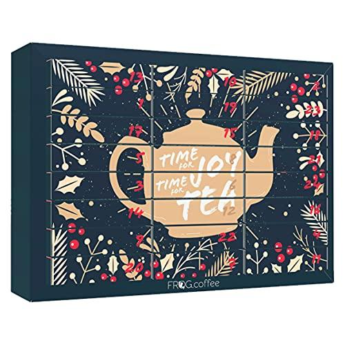 Tee-Adventskalender 2021 von FROG.coffee   48 Teebeutel in 24 verschiedenen Sorten   ChariTea, 5Cups, Meßmer, Teekanne, Bünting uvm.   Plastikfrei & Nachhaltig   Bio-, Kräuter & Früchte-Tee