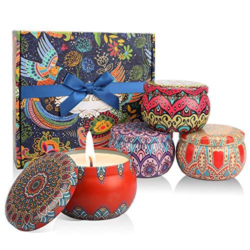 Enibon Duftkerzen, Duftkerzen Set, Kleine Geschenke für Frauen, Natürliche Sojawachs-Kerze für Entspannung, Orientalische Deko zum Geburtstag,Valentinstag, Weihnachten, Muttertag, 4 Pack