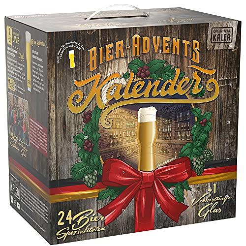 KALEA Bier-Adventskalender, 24 x 0,33 L Bierspezialitäten von Privatbrauereien aus Deutschland und 1 Verkostungsglas, neue Bestückung 2021, Biergeschenk zur Vorweihnachtszeit für alle Bierliebhaber