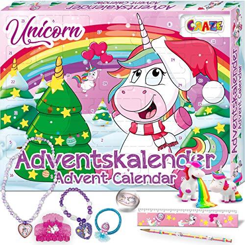 CRAZE Adventskalender UNICORN niedliche Einhorn Figuren Haarschmuck Accessoires Weihnachtskalender für Kinder Spielzeugkalender 24706