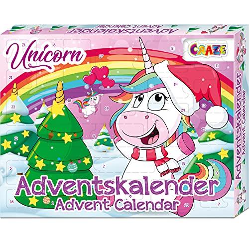 CRAZE Adventskalender UNICORN niedliche Einhorn Figuren Weihnachtskalender 2021 für Mädchen & Jungen Kinder Spielzeugkalender Überraschungen 24706